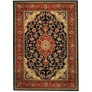 'Medallion Kashan' Black Area Rug (7'10 x 9'10)