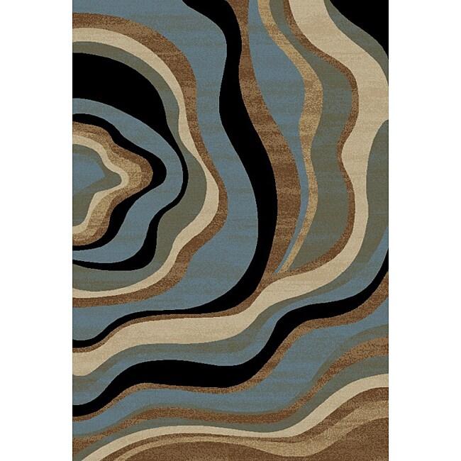 'Nirvana Waves' Blue/ Tan Area Rug (5'3 x 7'3)