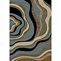 'Nirvana Waves' Blue/ Tan Area Rug (5'3 x 7'3)