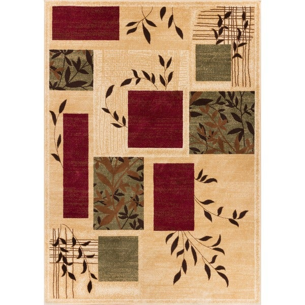 Hannover Floral Nature Geometric Boxes Ivory, Beige, Green, and Red Area Rug (7'10 x 9'10)
