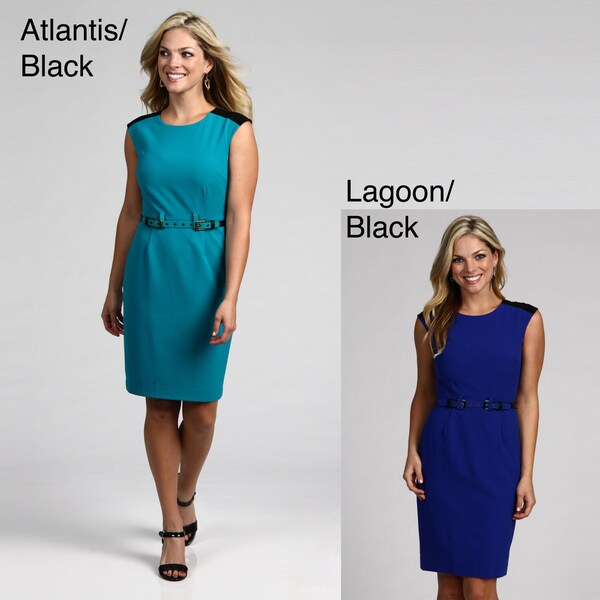 Calvin Klein Women's Colorblock Belted Dress