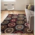 'Orchid Fields' Black Area Rug (7'10 x 9'10)