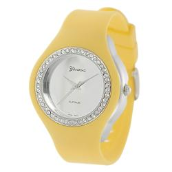 Geneva Platinum Women's Rhinestone-Accented Yellow Silicone Watch