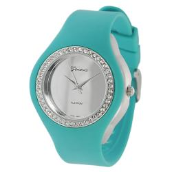 Geneva Platinum Women's Rhinestone-Accented Sea-Green Silicone Watch