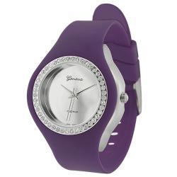 Geneva Platinum Women's Rhinestone-Accented Plum Silicone Watch