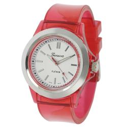 Geneva Platinum Women's Red Translucent Watch