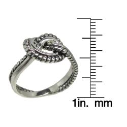 Sunstone Sterling Silver Love Knot Roped Edge Ring