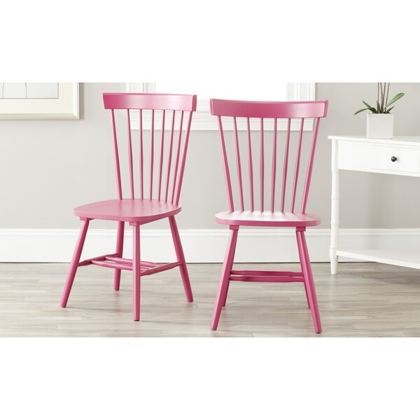 Safavieh Country Classic Dining Country Lifestyle Spindle Back Raspberry Side Chairs (Set of 2)