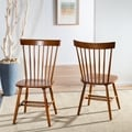 Country Lifestyle Spindle Back Natural Brown Dining Chair (Set of 2)