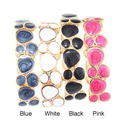 Goldtone Geometric Enamel Bangle Bracelet