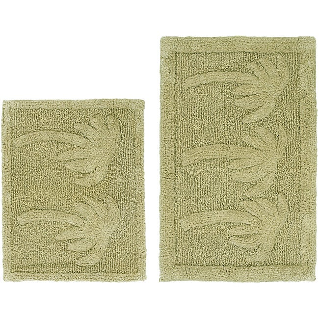 Celebration Palm Tree Cotton 2 Piece Bath Rug Set