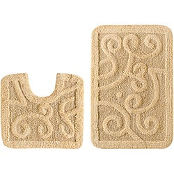Celebration 'Large Scroll' Cotton 2-piece Contour and Bath Rug Set