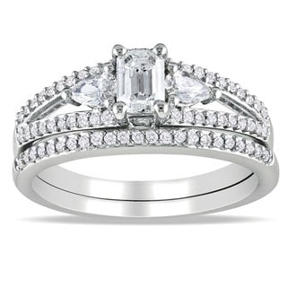 Miadora 14k White Gold 1ct TDW Diamond Bridal Ring Set (H-I, I1-I2)