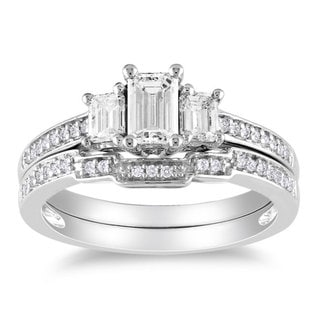 Miadora 14k White Gold 1ct TDW Emerald Cut Diamond Ring Set (G-H, I1-I2)