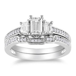 Miadora 14k White Gold 1ct TDW Diamond 3-stone Bridal Ring Set (H-I, I1-I2)