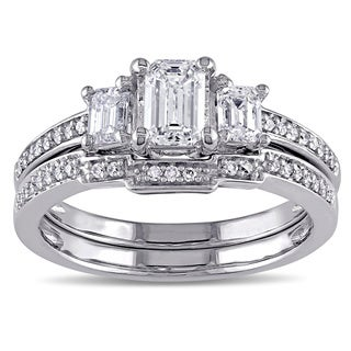 Miadora Signature Collection 14k White Gold 1ct TDW Emerald Cut Certified Diamond Ring Set (G-H, I1-I2)