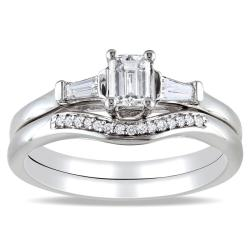 Miadora 14k White Gold 3/4ct TDW Diamond 3-stone Bridal Ring Set (H-I, I1-I2)