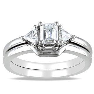 Miadora 14k White Gold 3/4ct TDW Diamond 3-stone Bridal Ring Set (H-I, I1-I2) with Bonus Earrings