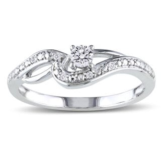 Miadora 10k White Gold 1/6ct TDW Diamond Engagement Ring (H-I, I2-I3) with Bonus Earrings