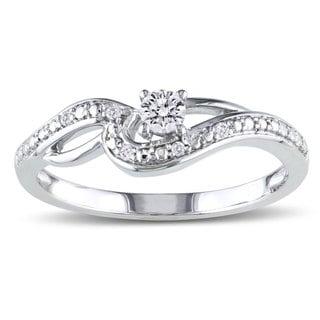 Miadora 10k White Gold 1/6ct TDW Diamond Engagement Ring (H-I, I2-I3)