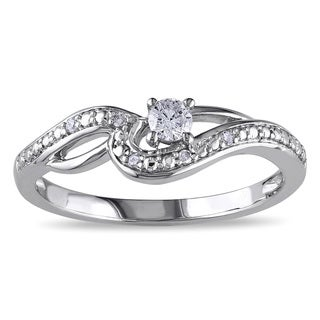 Miadora 10k White Gold 1/6ct TDW Diamond Engagement Ring (H-I, I2-I3)