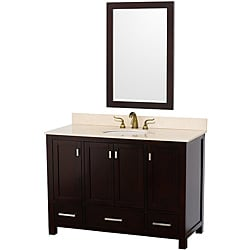 Wyndham Collection Abingdon Espresso 48-Inch Solid Oak Bathroom Vanity