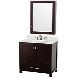 Wyndham Collection Abingdon Espresso 36-Inch Solid Oak Bathroom Vanitity