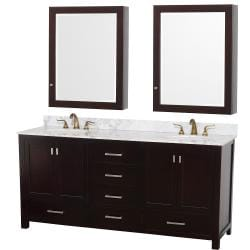 Wyndham Collection Abingdon Espresso 72-Inch Solid Oak Double Bathroom Vanity