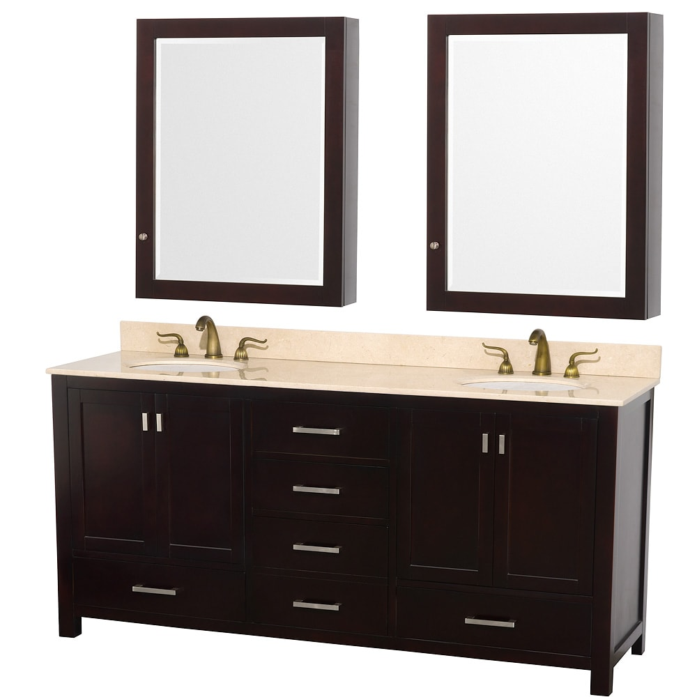 Wyndham Collection Abingdon Espresso 72-inch Solid Oak Double Bathroom Vanity Set