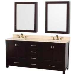 Wyndham Collection Abingdon Espresso 72-inch Solid Oak Double Bathroom Vanity Set