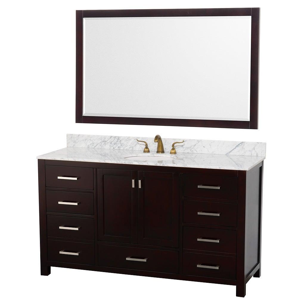 Wyndham Collection Abingdon Espresso 60-inch Solid Oak Single Bathroom Vanity Set