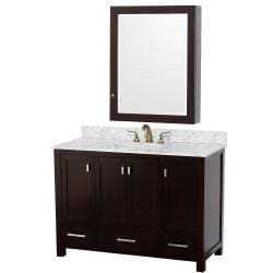 Wyndham Collection Abingdon Espresso 48-inch Solid Oak Single Bathroom Vanity Set