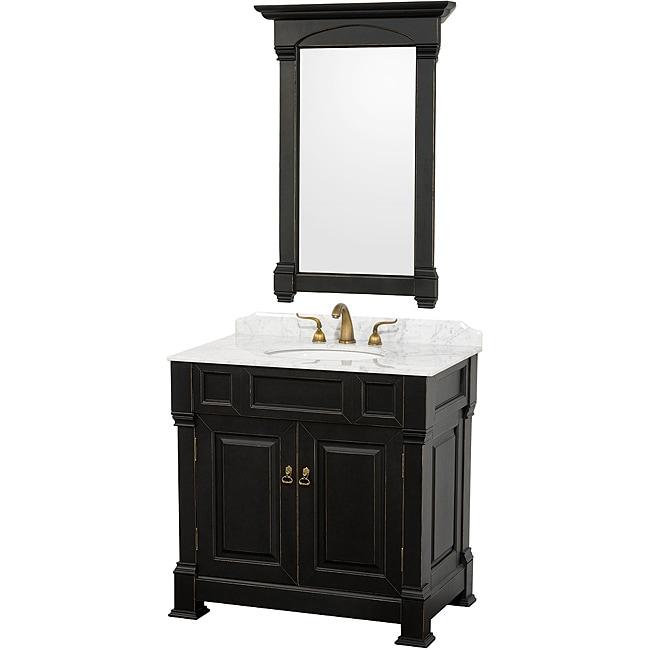 Wyndham Collection Andover Black Solid Oak 36 Inch Bathroom Vanity 14029125