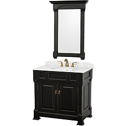 Wyndham Collection Andover Black Solid Oak 36-Inch Bathroom Vanity