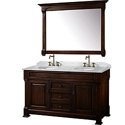 Wyndham Collection Andover Dark Cherry 60-Inch Solid Oak Bathroom Vanity