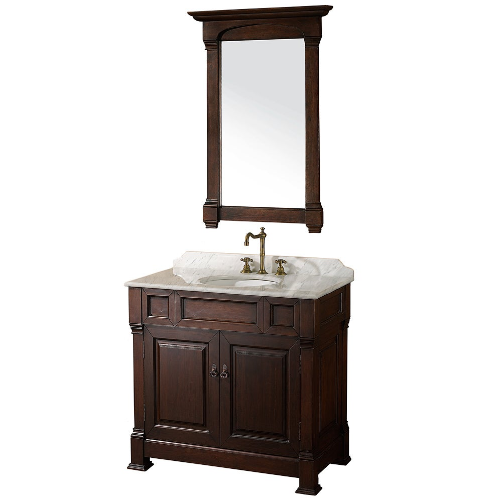 Wyndham Collection Andover Dark Cherry 36 Inch Solid Oak Bathroom Vanity 14029149 Overstock