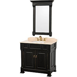 Wyndham Collection Andover Black 36-Inch Solid Oak Bathroom Vanity