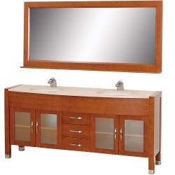 Wyndham Collection Daytona Cherry 71-Inch Solid Oak Double Bathroom Vanity