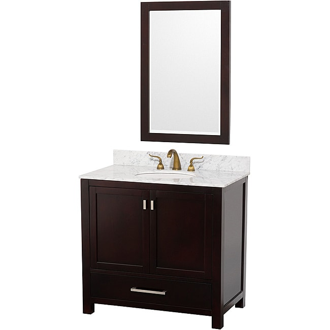 Wyndham Collection Abingdon Espresso 36 Inch Solid Oak Bathroom Vanity