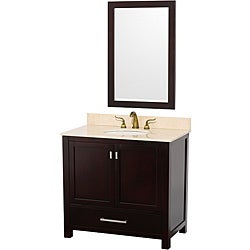 Wyndham Collection Abingdon Espresso 36-Inch Solid Oak Bathroom Vanity