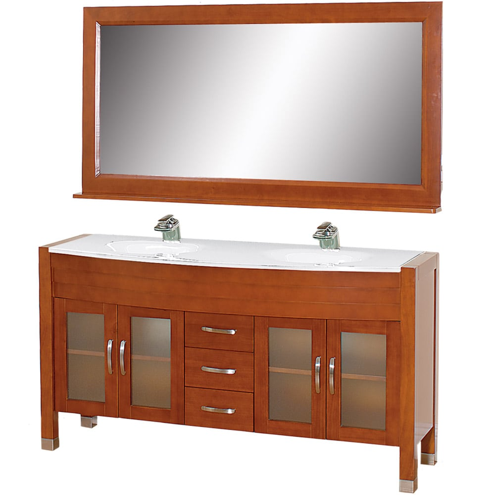 Wyndham Collection Daytona Cherry 63-Inch Solid Oak Double Bathroom Vanity at Sears.com