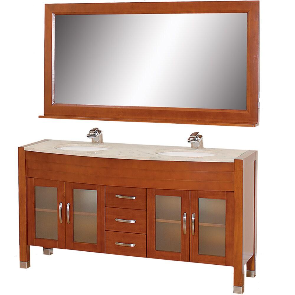 cherry 63 inch solid oak double bathroom vanity 14029145 overstock