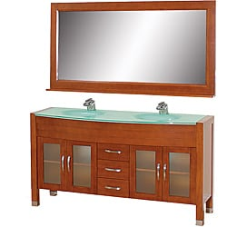 Wyndham Collection Daytona Cherry 63-Inch Solid Oak Double Bathroom Vanity