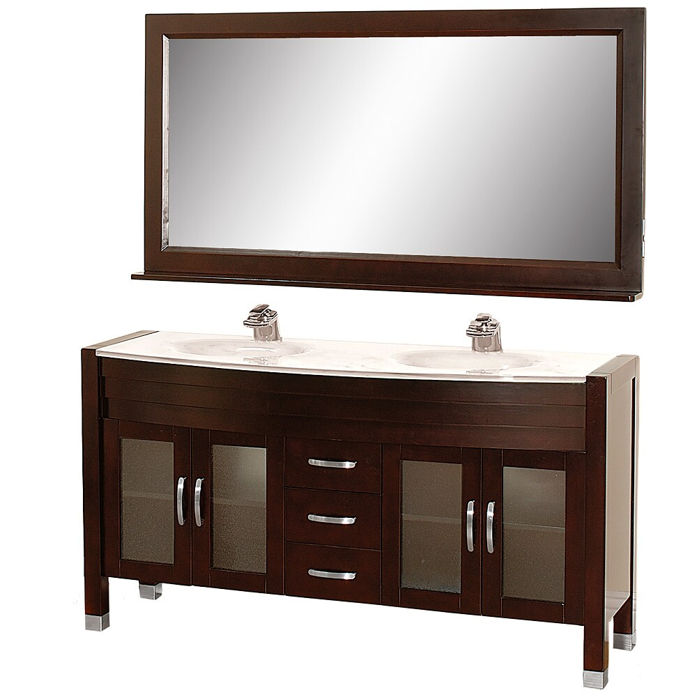 Wyndham Collection Daytona Espresso 63-Inch Solid Oak Double Bathroom Vanity at Sears.com