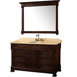 Wyndham Collection Andover Dark Cherry 55-Inch Solid Oak Bathroom Vanity