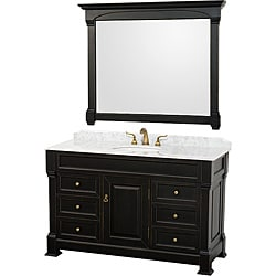 Wyndham Collection Andover Black 55-Inch Solid Oak Bathroom Vanity