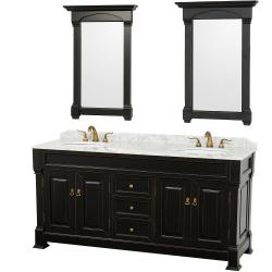 Wyndham Collection Andover Black 72-Inch Solid Oak Double Bathroom Vanity