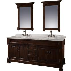 Wyndham Collection Andover Dark Cherry 72-Inch Solid Oak Double Bathroom Vanity
