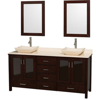 Wyndham Collection Lucy Espresso 72-Inch Solid Oak Double Bathroom Vanity