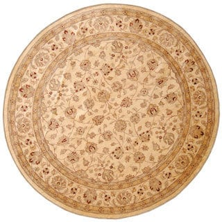 Afghan Hand-knotted Vegetable Dye Ivory Wool Rug (9'8 Round)